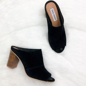 Steve Madden Black Peep Toe Mules Sandals Size 6